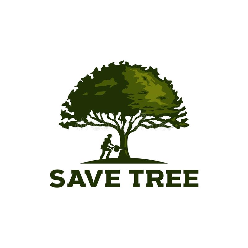 год сбора винограда логотипа дуба lumberjack иллюстрация штока