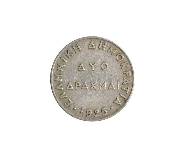 Год сбора винограда монетка 2 драхм сделанная Грецией в 1926 стоковое изображение rf