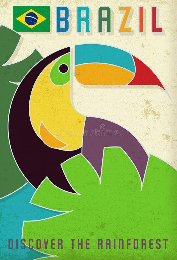 Год сбора винограда попугая Grunge плаката перемещения Бразилии стоковые изображения