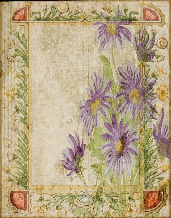 Год сбора винограда - рамка предпосылки Scrapbook коллажа цветка иллюстрация вектора
