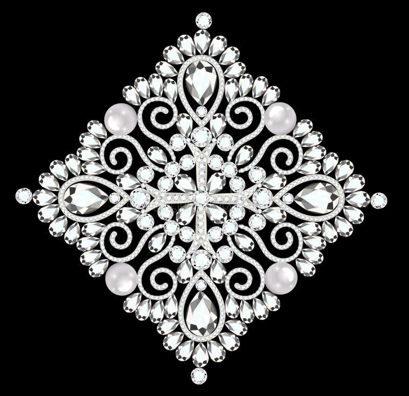 год сбора винограда фибулы с драгоценными камнями очарование иллюстрация вектора