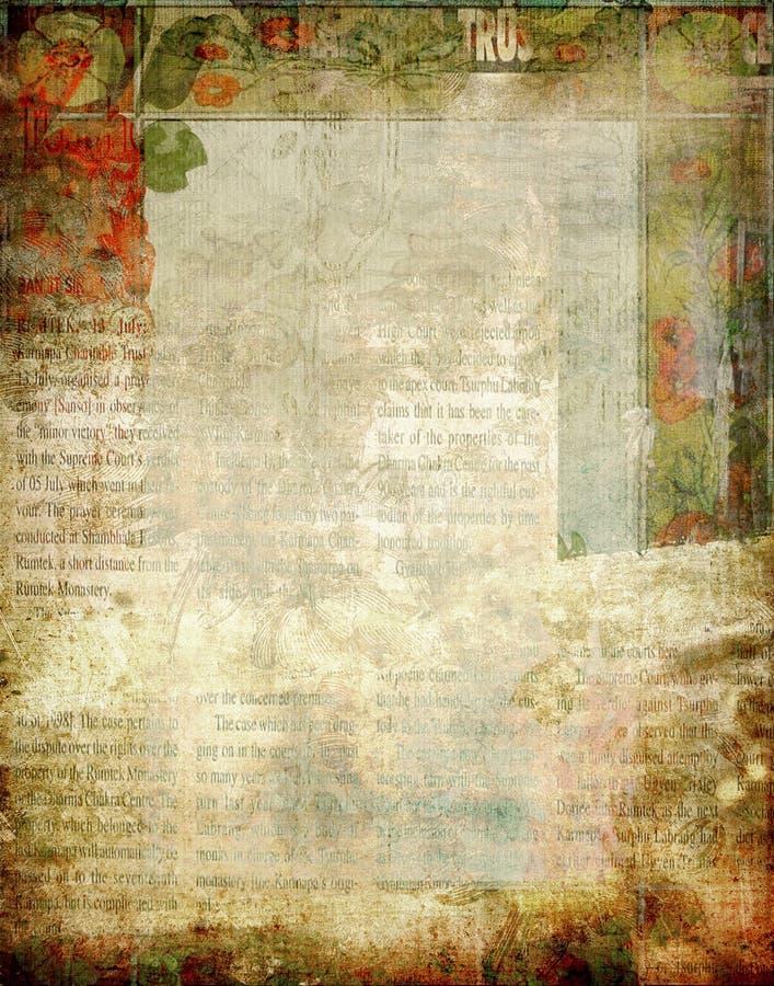 Год сбора винограда - флористическая предпосылка Scrapbook Newsprint иллюстрация штока