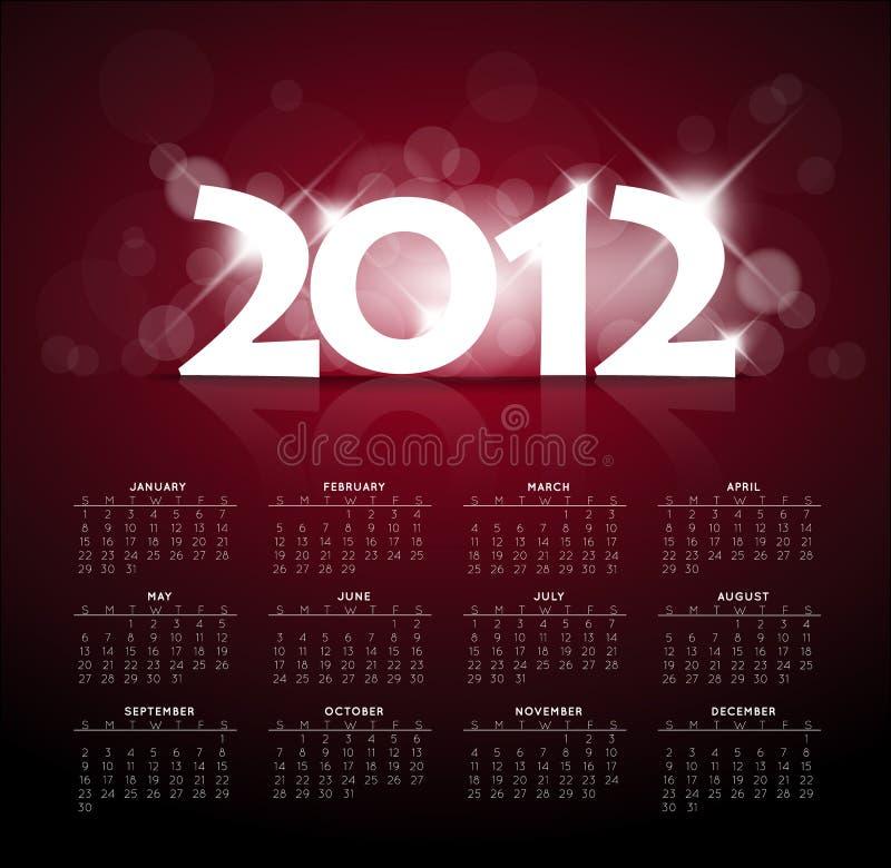 год света календара 2012 задних частей новый красный иллюстрация штока