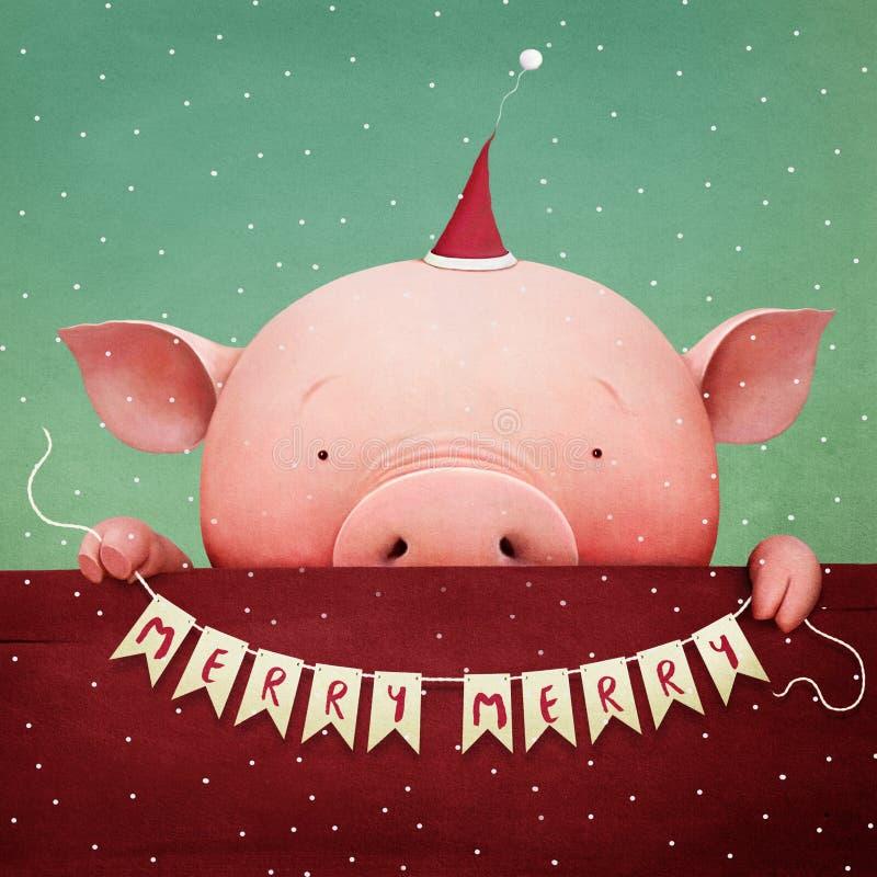 Год свиньи иллюстрация штока
