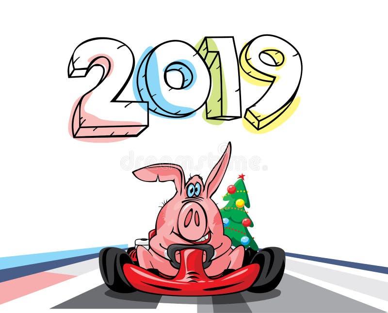 год 2019 свиньи иллюстрация штока