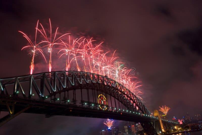 год Сиднея гавани феиэрверков моста новый стоковая фотография rf