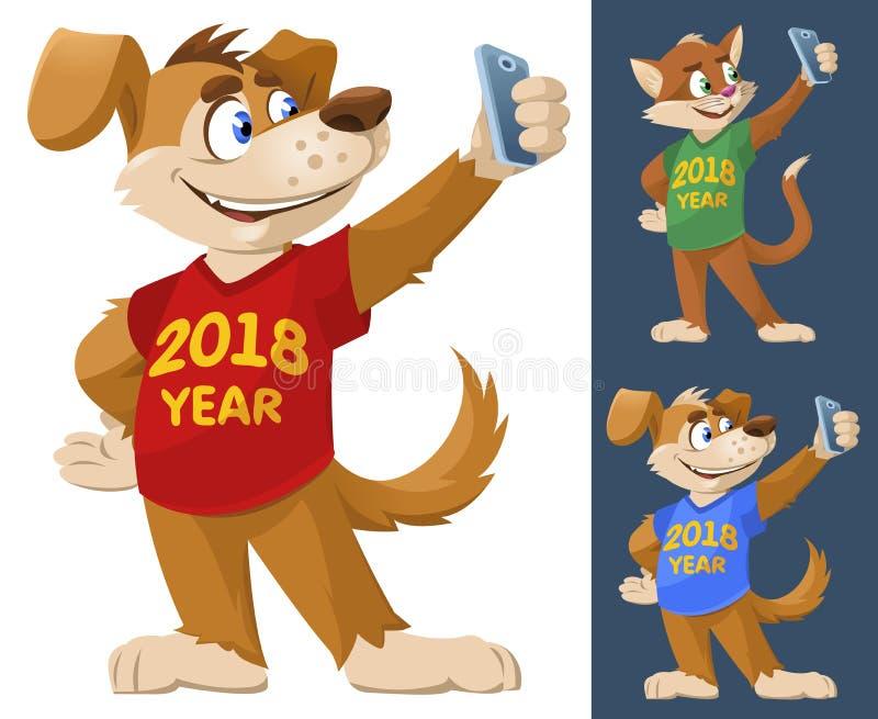 2018 год собаки Смешная собака и кошка в красочном mak футболок иллюстрация штока