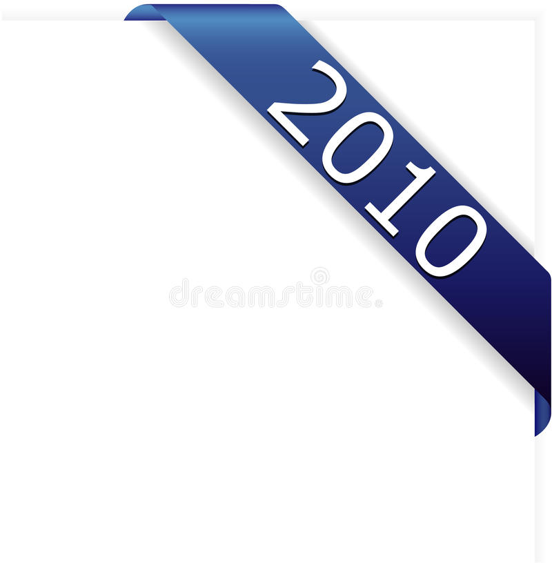 год тесемки 2010 син угловойой новый иллюстрация вектора