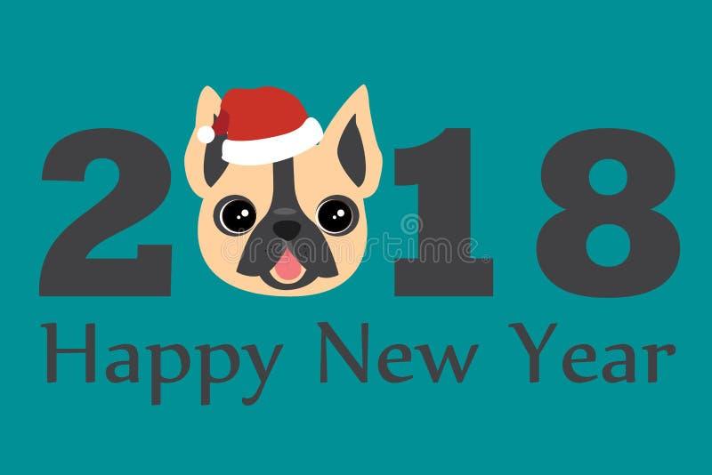 Год шаблона вектора собаки 2018 для дизайна рогульки, брошюры, приглашения, знамен, календаря, поздравительной открытки иллюстрация штока
