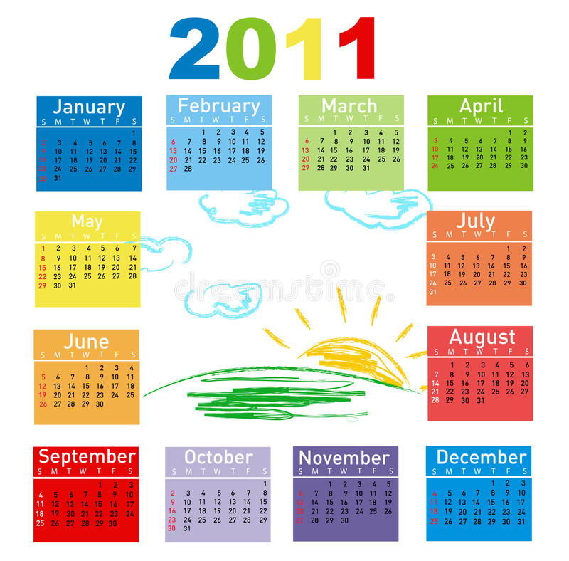 год 2011 календара цветастый иллюстрация вектора