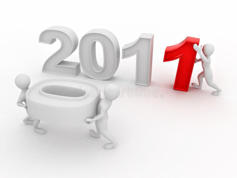 год 2011 номера людей новый иллюстрация вектора