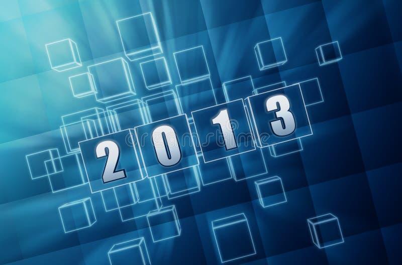 Год 2013 в блоках синего стекла иллюстрация штока