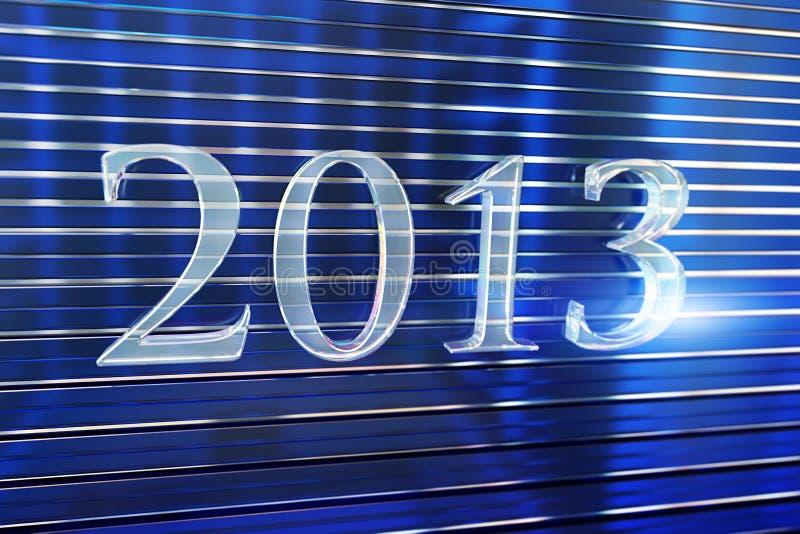 Год 2013 сделал стеклянной литерности стоковое фото