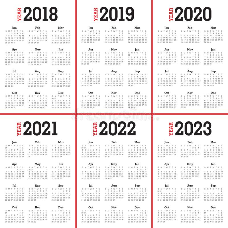 Год 2018 2019 2020 2021 2022 2023 calendar вектор иллюстрация штока