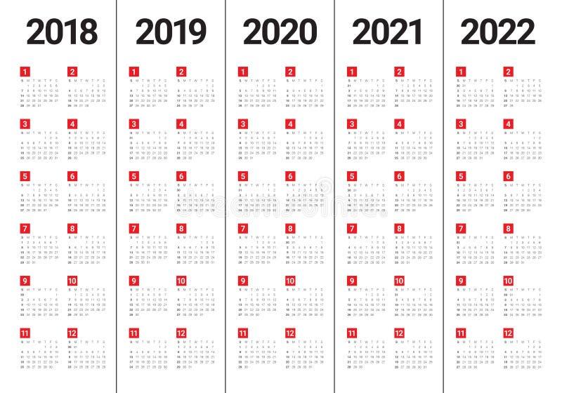Год 2018 2019 2020 2021 2022 calendar вектор иллюстрация штока