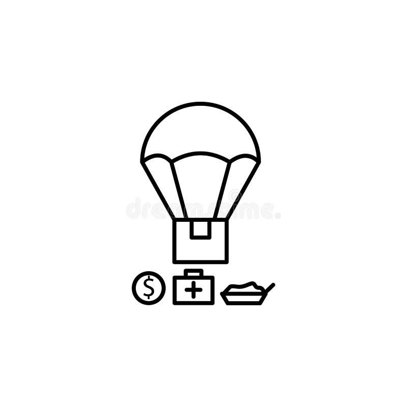 голевая передача, помощь, значок поддержки Элемент социальных проблемы и значка беженцев Тонкая линия значок для дизайна вебсайта иллюстрация вектора