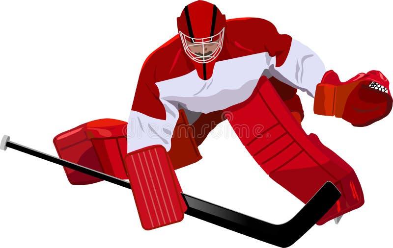 Голкипер хоккея в игре иллюстрация вектора