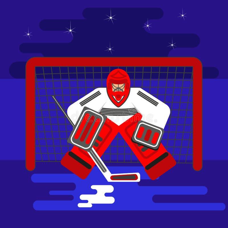 Голкипер хоккея плоский иллюстрация вектора