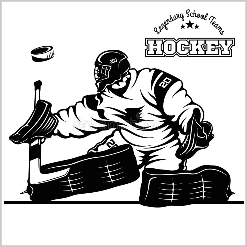 Голкипер хоккея шток померанца иллюстрации предпосылки яркий иллюстрация штока
