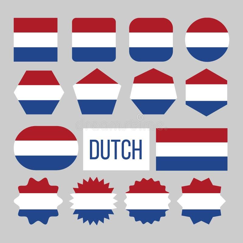 Голландская диаграмма значки собрания флага установила вектор иллюстрация вектора