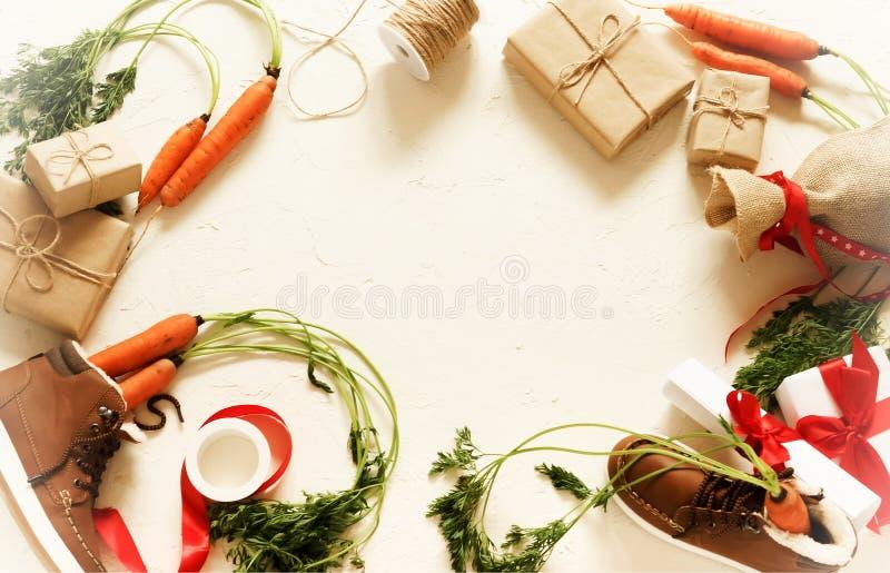 Голландская предпосылка Sinterklaas праздника Ботинки ` s детей, моркови стоковые изображения rf