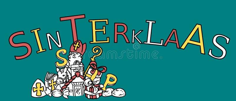 Голландская традиционная иллюстрация партии Sinterklaas - различные значки Sint doodle иллюстрация вектора