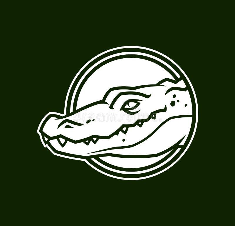Голова аллигатора в круге Значок характера крокодила иллюстрация вектора