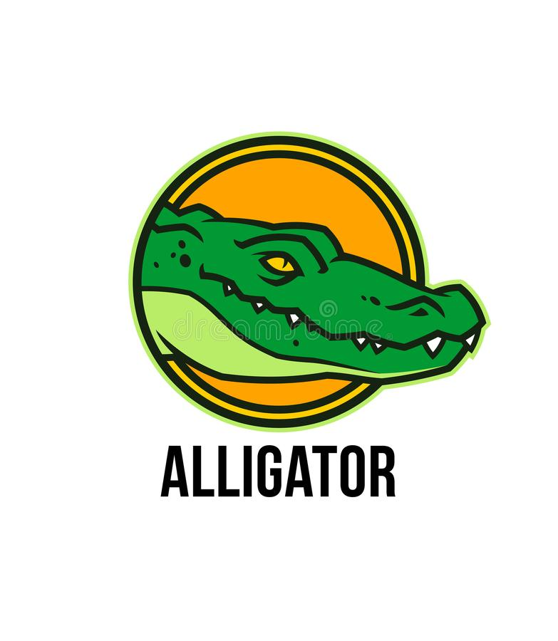 Голова аллигатора в круге Талисман покрашенный крокодилом иллюстрация вектора