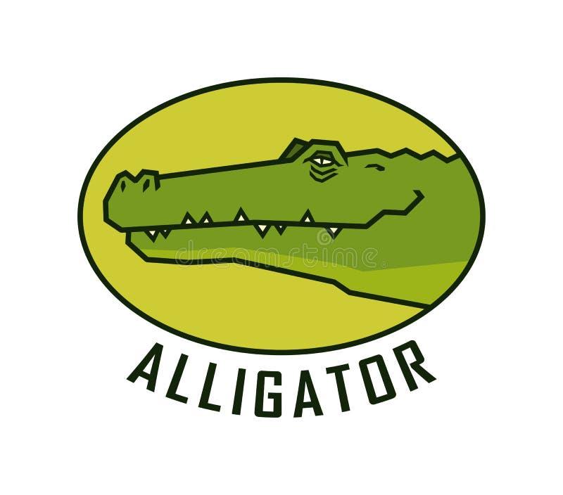 Голова аллигатора Счастливая эмблема вектора стороны крокодила стоковое изображение