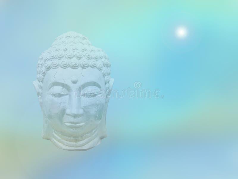 Голова Будды на предпосылке бирюзы медитативной стоковые изображения rf