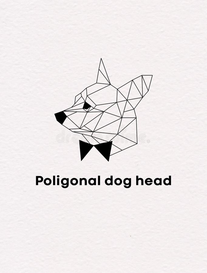 Голова вектора собаки Poligonal геометрическая на предпосылке бумаги акварели иллюстрация вектора