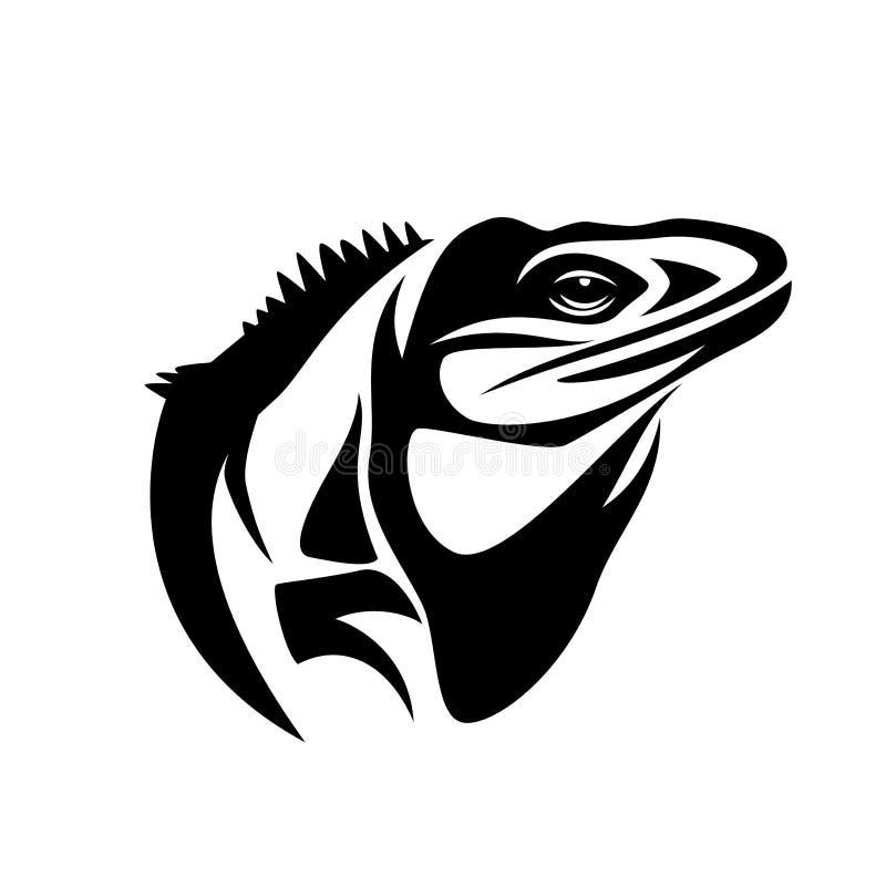 Голова вектора ящерицы игуаны черно-белая иллюстрация штока