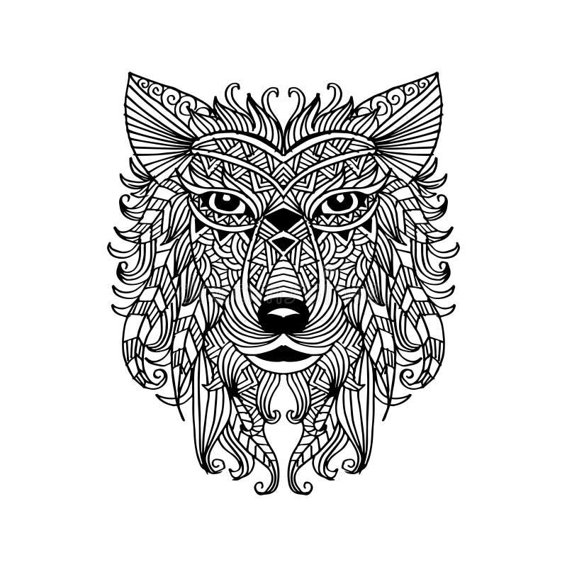 Голова волка руки вычерченная декоративная иллюстрация вектора