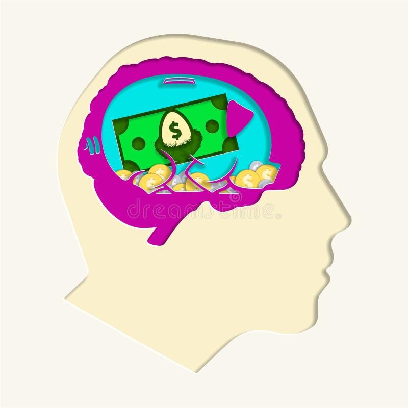 Голова для бумаги мультфильма сбережений отрезала вне иллюстрацию векторной графики иллюстрация штока