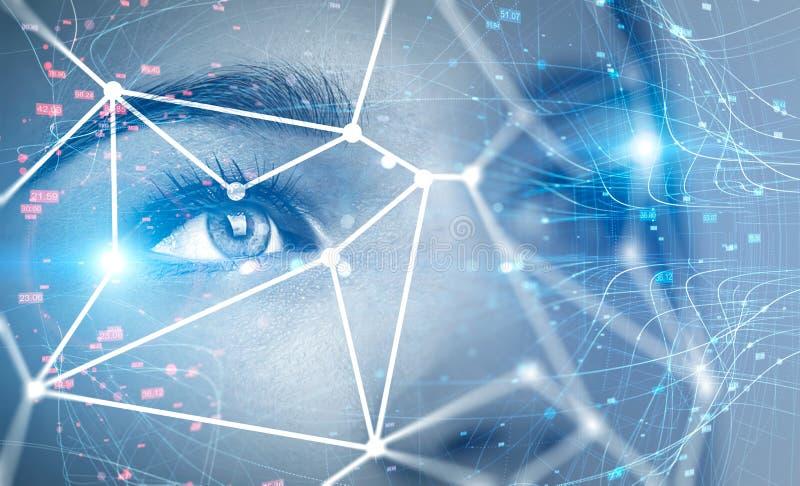Голова женщины и технология распознавания лиц стоковое фото rf