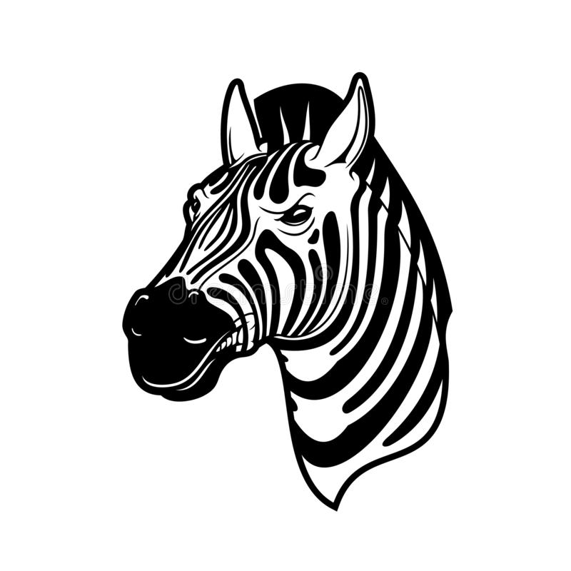 Голова зебры животная, черно-белая африканская лошадь иллюстрация вектора