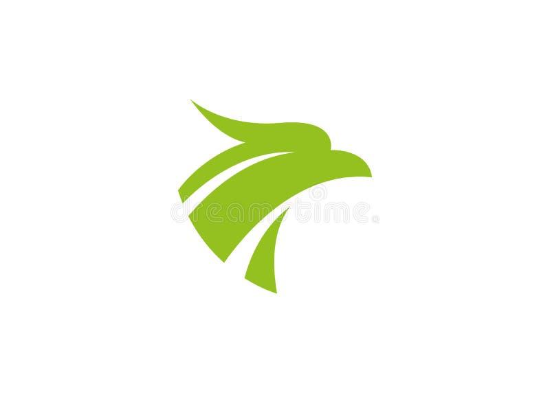 Голова зеленого цвета орла или ястреба для логотипа иллюстрация штока