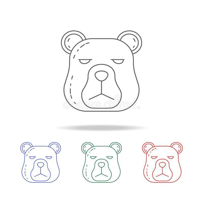 голова значка медведя Элементы располагаясь лагерем multi покрашенных значков Наградной качественный значок графического дизайна  бесплатная иллюстрация