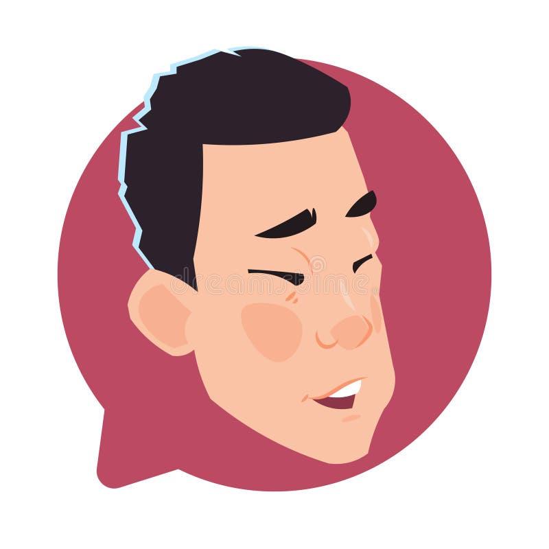 Голова значка профиля азиатская мужская в изолированном пузыре, портрете болтовни персонажа из мультфильма воплощения молодого че иллюстрация вектора