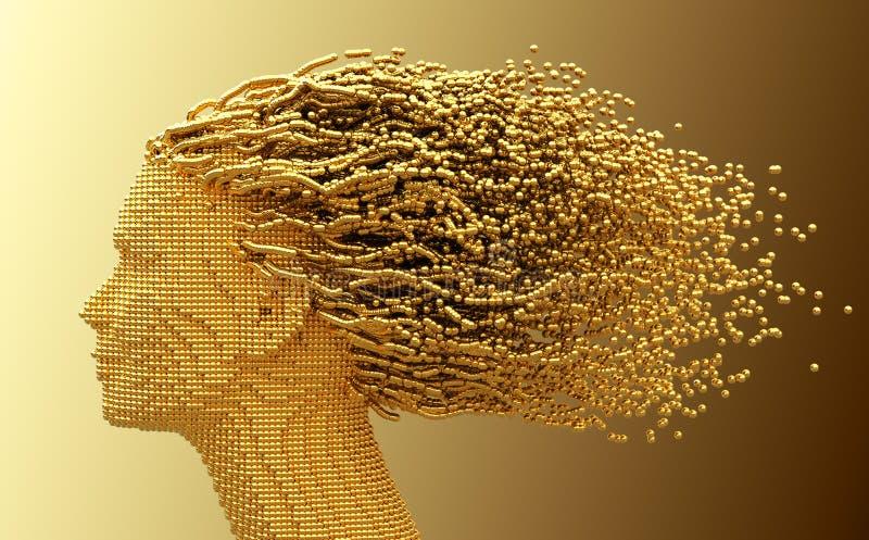 Голова золота женщины и сфер 3D как волосы на желтой предпосылке иллюстрация вектора