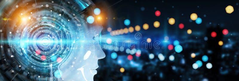 Голова киборга используя искусственный интеллект создать цифровое inte иллюстрация штока