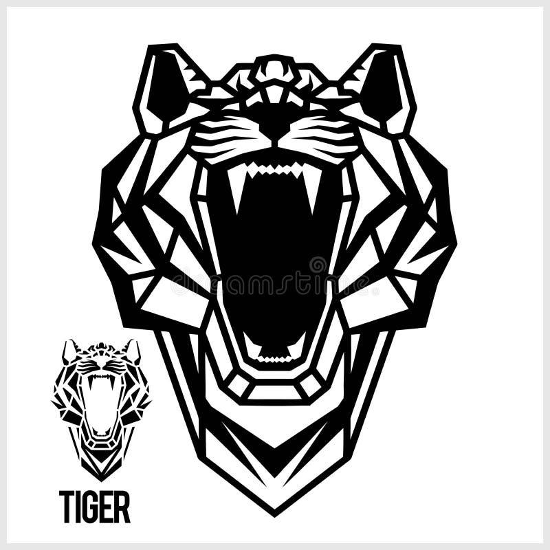 Голова конспекта линейная полигональная тигра r иллюстрация штока