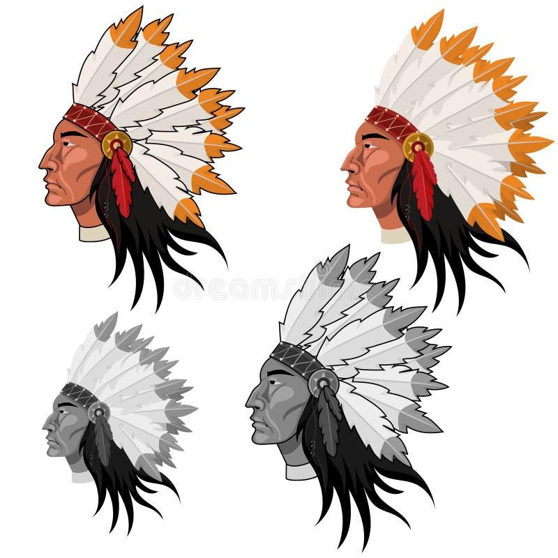 Голова коренного американца в изображении вектора цвета и серой шкалы иллюстрация штока