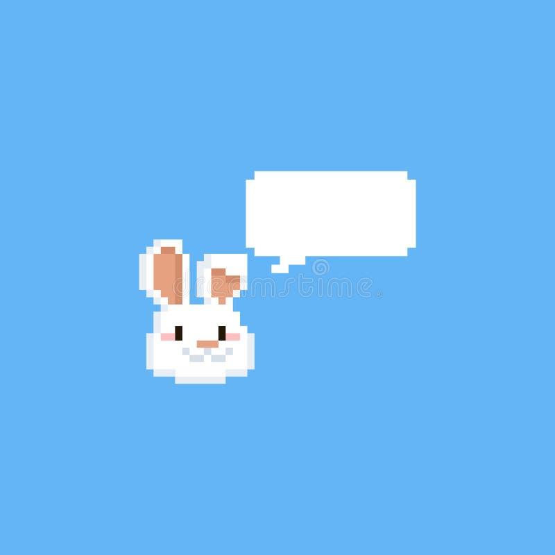 Голова кролика пиксела с пузырем речи Пасха 8bit бесплатная иллюстрация