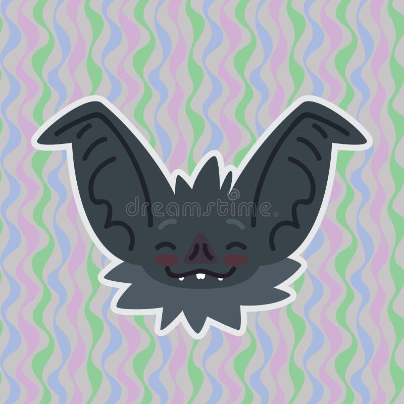 Голова летучей мыши хеллоуина smiley получила покраснетой Иллюстрация вектора летуч-ушастого серого рыльца с красными щеками пока иллюстрация штока
