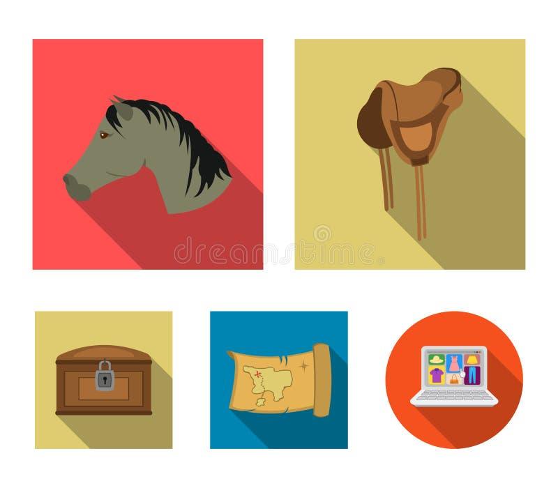 Голова лошади, седловины, карты сокровища, значки собрания запада chestWild установленные в плоском стиле vector запас символа иллюстрация вектора
