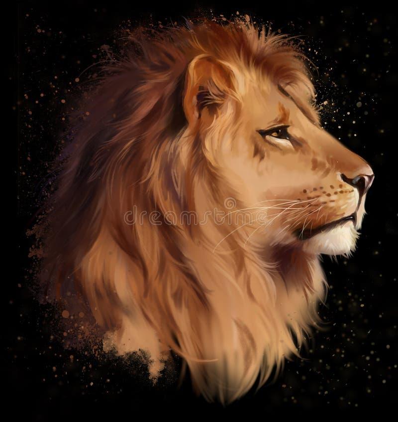 Голова льва на черной предпосылке иллюстрация штока