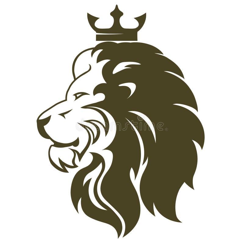 Голова льва с кроной Королевский профиль кота Золотая роскошная эмблема r бесплатная иллюстрация