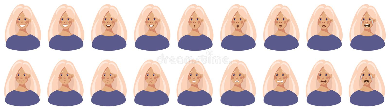 Голова маленькой девочки с различными эмоциями на ее стороне, наборе иллюстрации вектора бесплатная иллюстрация