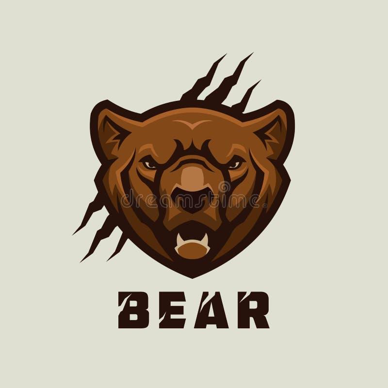 Голова медведя Стилизованный талисман вектора гризли стоковая фотография